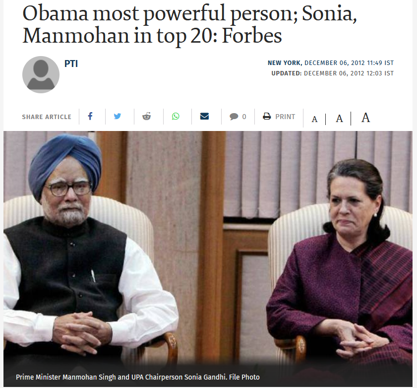 USA Made list of Honest People, Manmohan Singh is on Top